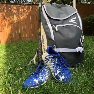 Under Armor blue and white baseball cleats